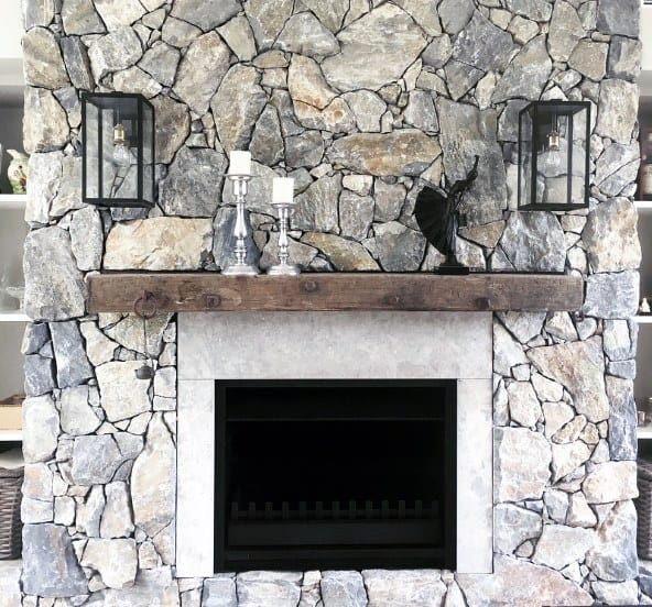 Gas Fireplace Stone Wall With Wood Beam Design
