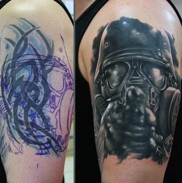 Gas Mask Arm Tattoo Cover Up Ideas For Men