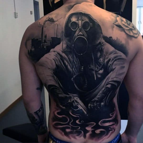 Gas Mask Black Ink Back Male Tattoo Ideas
