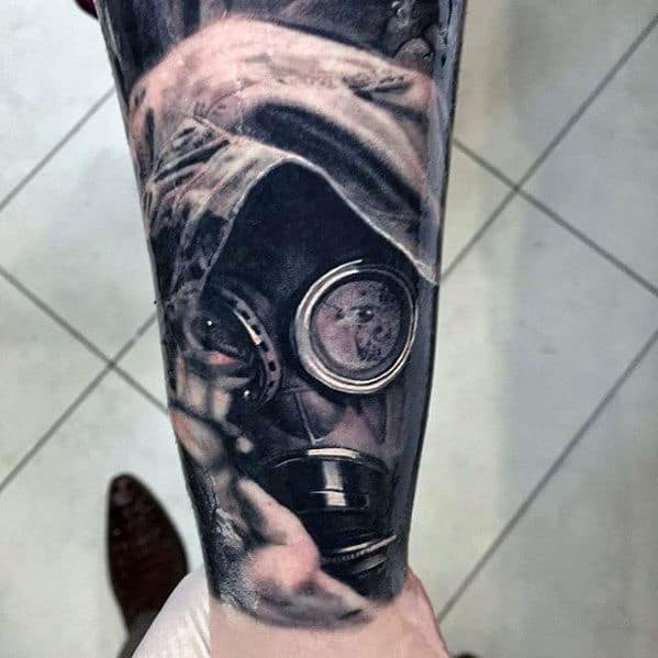 Gas Mask Hyper Realistic Forearm Tattoos For Guys