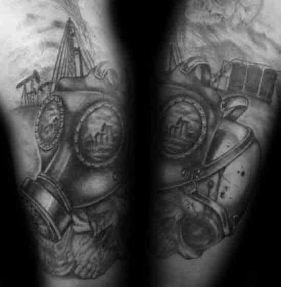 Gas Mask Mens Oilfield Arm Tattoo Designs
