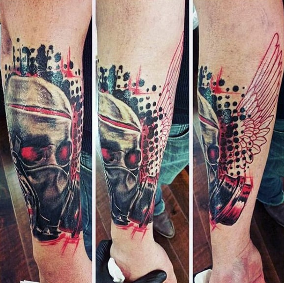 Gas Mask Skull Guys Trash Polka Forearm Tattoo