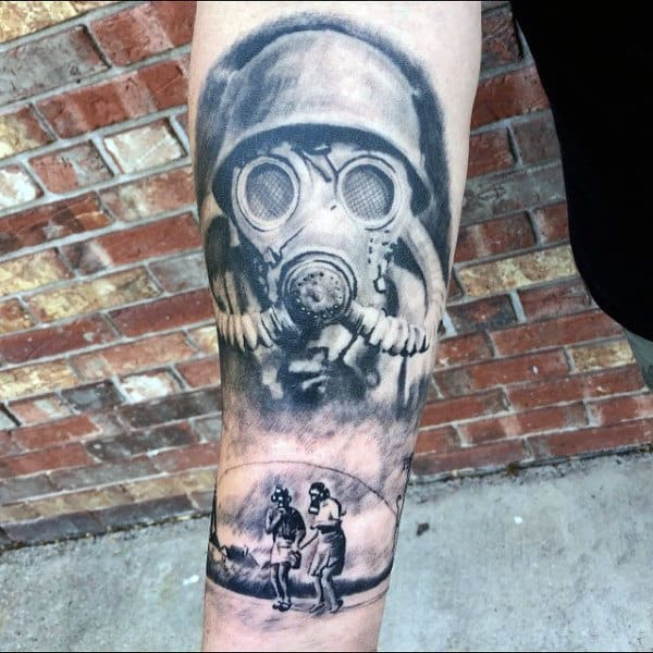 Gas Mask Themed Mens Tattoo On Forearm