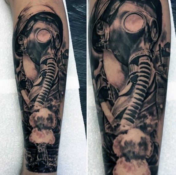 Gas Mask Ww2 Mens Leg Sleeve Tattoos