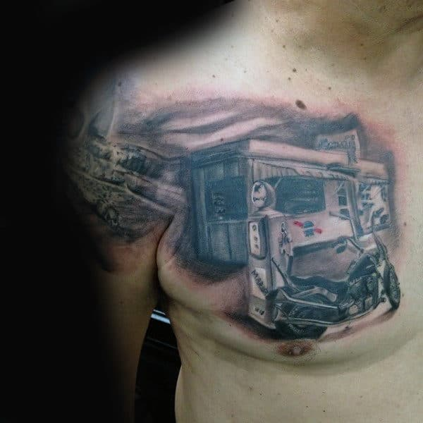Gas Station With Motocycle Biker Chest Tattoos For Men