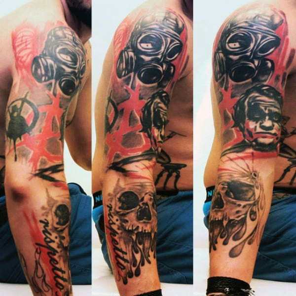 Gask Mask Trash Polka Guys Skull Arm Tattoos
