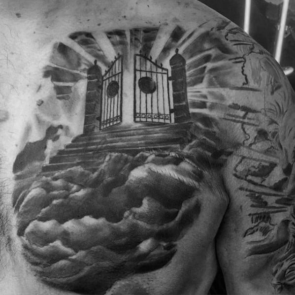 Gates Of Heaven Clouds Male Shaded Upper Chest Tattoo