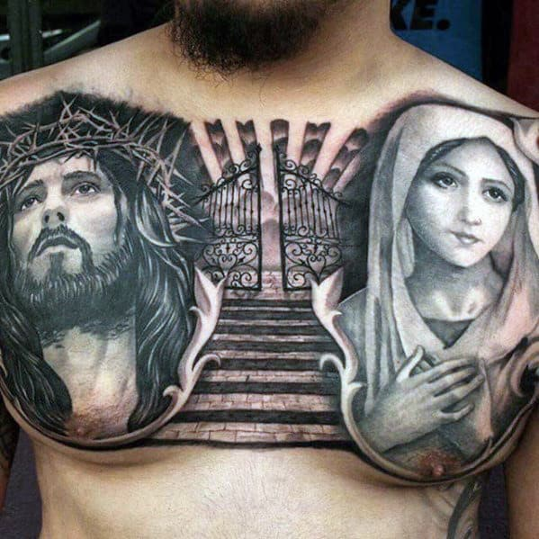 Gates Of Heaven Mother Mary With Jesus Mens Chest Tattoos