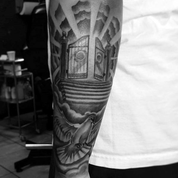 Gateway To Heaven Religious Tattoo Male Sleeves