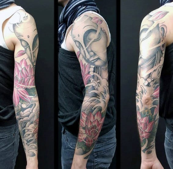 Gautama Buddha Mens Lotus Flower Sleeve Tattoo