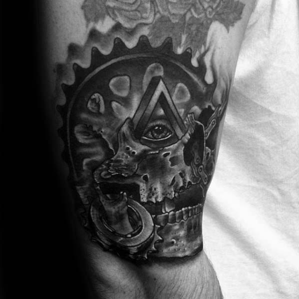 Gear With All Seeing Eye And Skull Bmx Mens Arm Tattoos