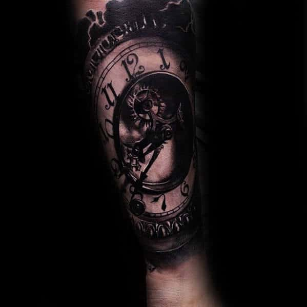 Gear With Clock Guys 3d Forearm Sleeve Tattoo