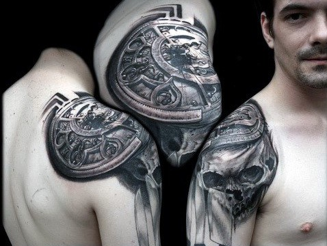 Gear With Skull Mens Crazy Shoulder Tattoos