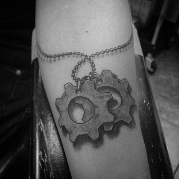 Gears Of War 3d Necklace Male Forearm Tattoo Ideas