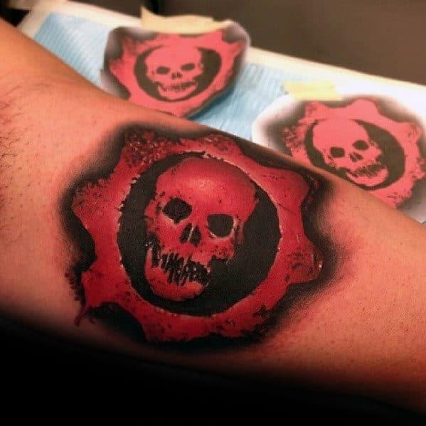 Gears Of War Back Of Leg Calf Tattoo Ideas For Guys