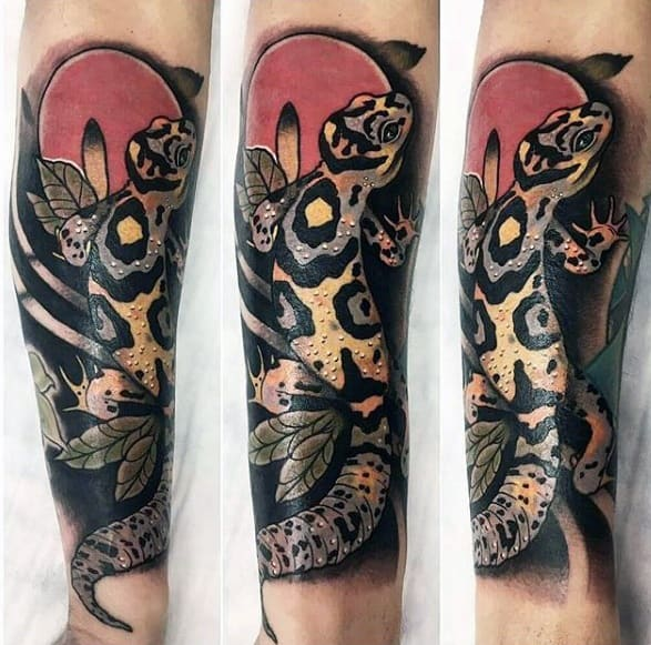 Gecko Mens Tattoo Ideas Forearm Sleeve