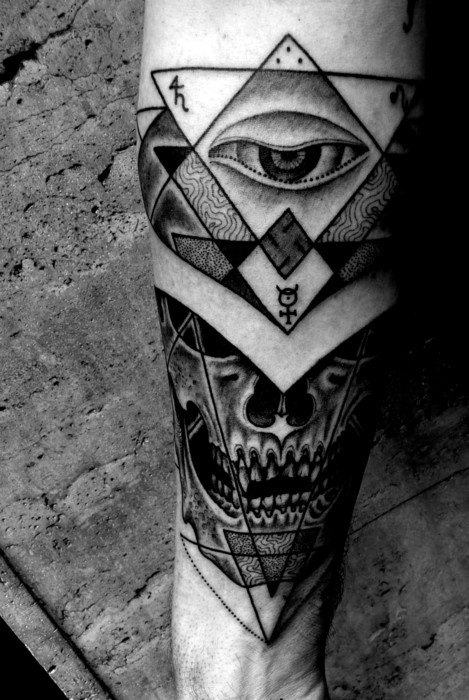 Gentlean With Eye Of Providence Geometric Skull Forearm Tattoo
