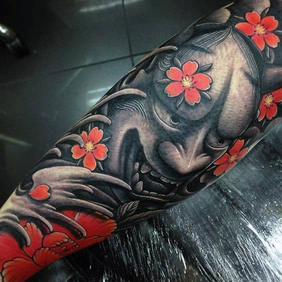 Gentleman With 3d Cherry Blossom Flower And Demon Japanese Sleeve Tattoo