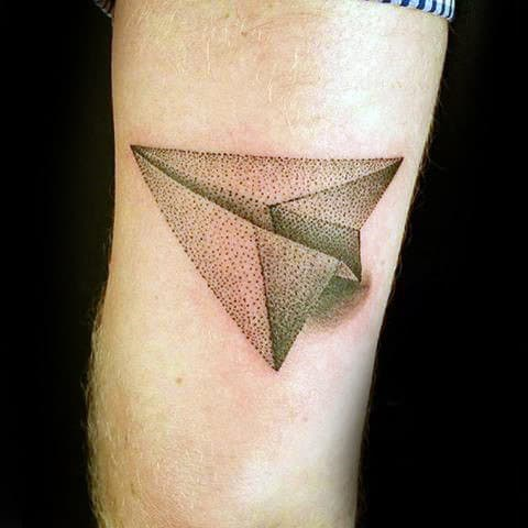 Gentleman With 3d Dotwork Paper Airplane Tattoo