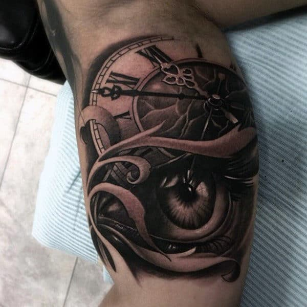 Gentleman With 3d Eye And Clock Inner Arm Tattoo