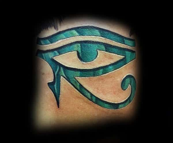 Gentleman With 3d Eye Of Horus Teal Tattoo
