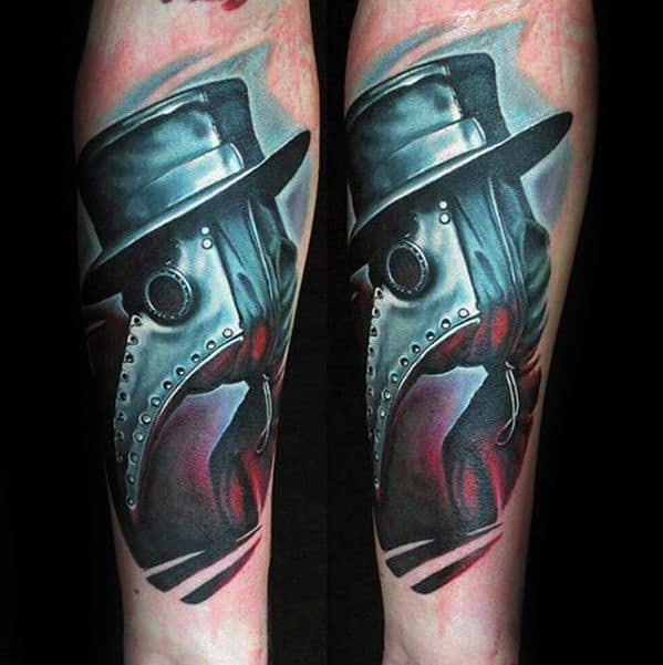 Gentleman With 3d Inner Forearm Plague Doctor Tattoo