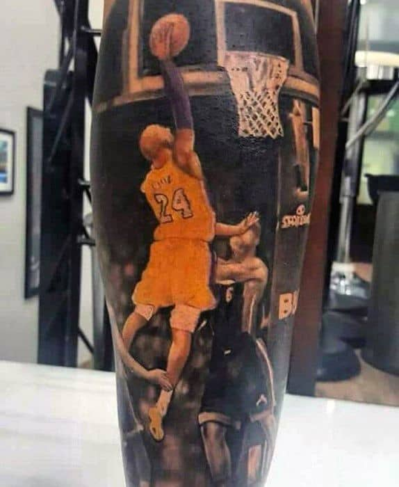 Gentleman With 3d Leg Sleeve Kobe Bryant Tattoo