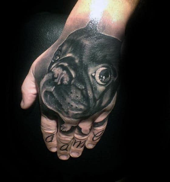 Gentleman With 3d Pug Dog Hand Tattoo