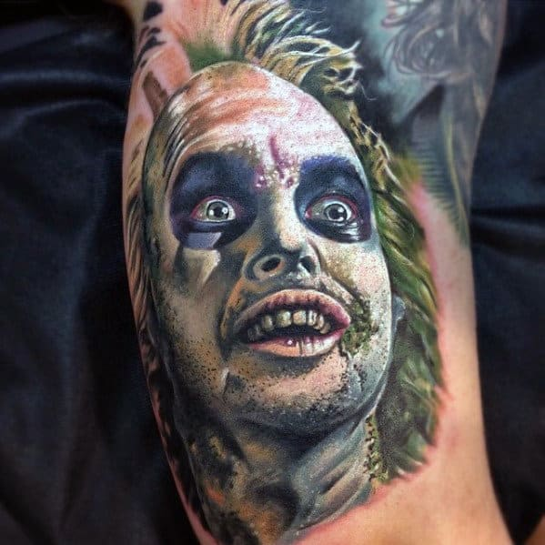Gentleman With 3d Realistic Beetlejuice Arm Tattoo