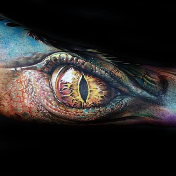 Gentleman With 3d Realistic Dragon Eye Forearm Tattoo