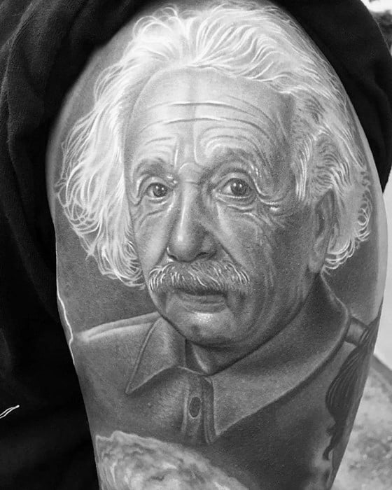 Gentleman With 3d Realistic Shaded Albert Einstein Tattoo On Arm