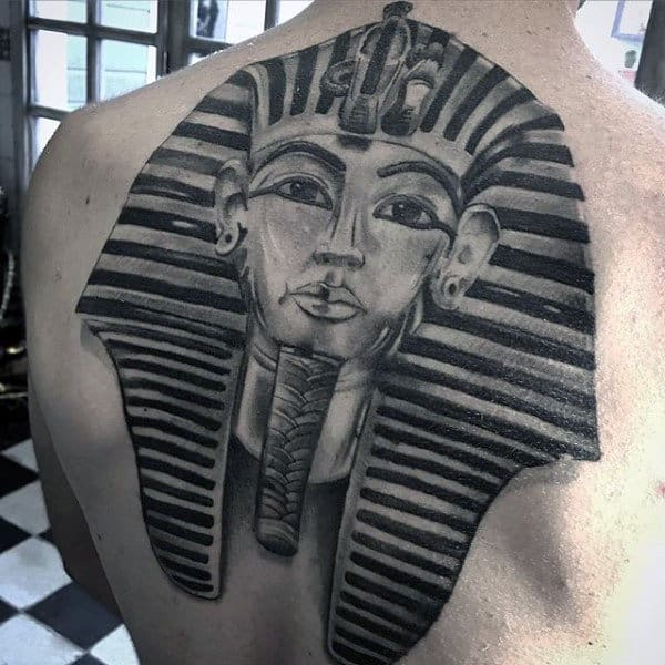 Gentleman With 3d Shaded Black And Grey King Tut Tattoos
