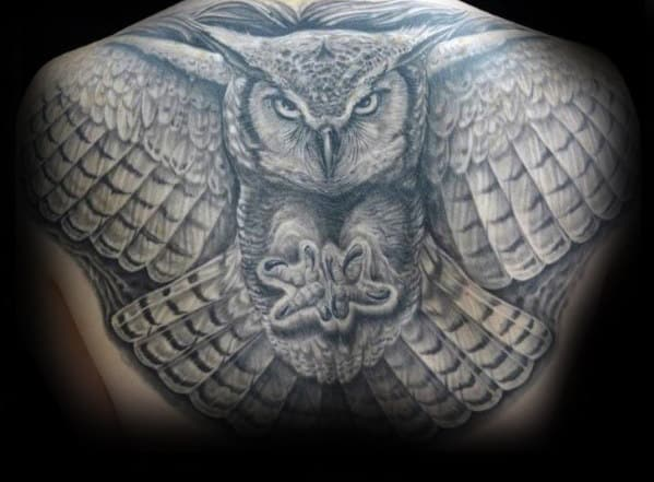 Gentleman With 3d Shaded Owl Flying Back Tattoo Design