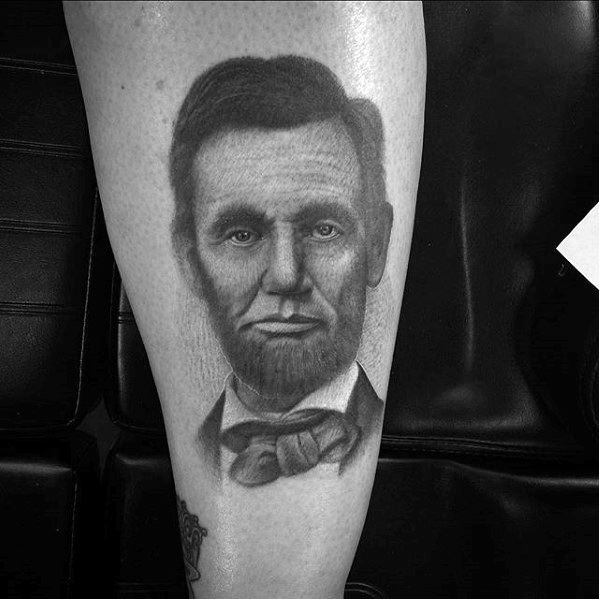 Gentleman With Abraham Lincoln Leg Tattoo