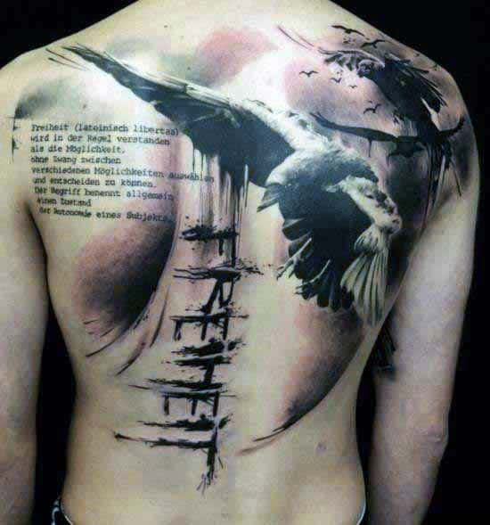 Gentleman With Abstract Back Crow Tattoo
