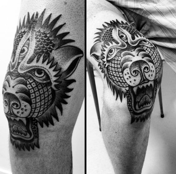 Gentleman With Abstract Knee Bear Tattoo Design