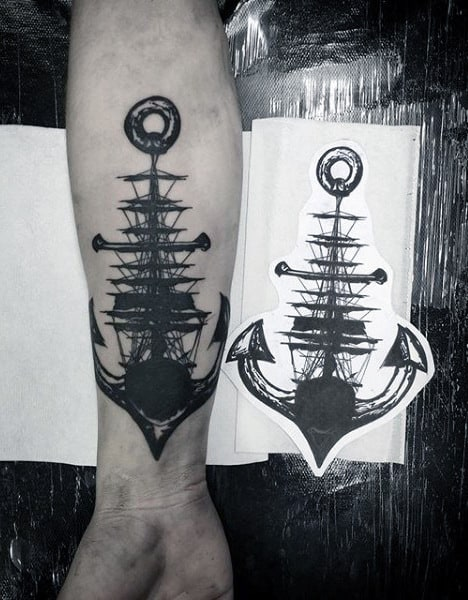 Gentleman With Abstract Ship And Anchor Nautical Inner Forearm Tattoo