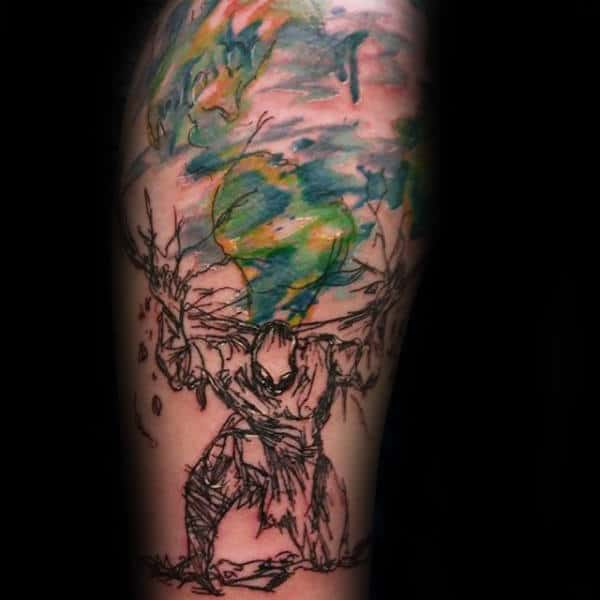 Gentleman With Abstract Watercolor Atlas Arm Tattoos