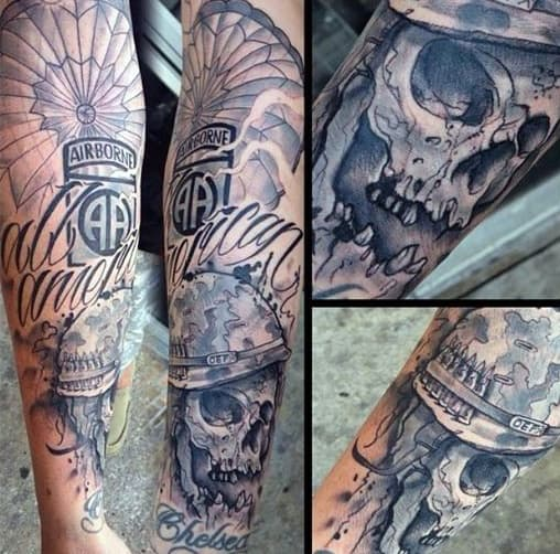 Gentleman With Airborne Skull Parachute Forearm Tattoo