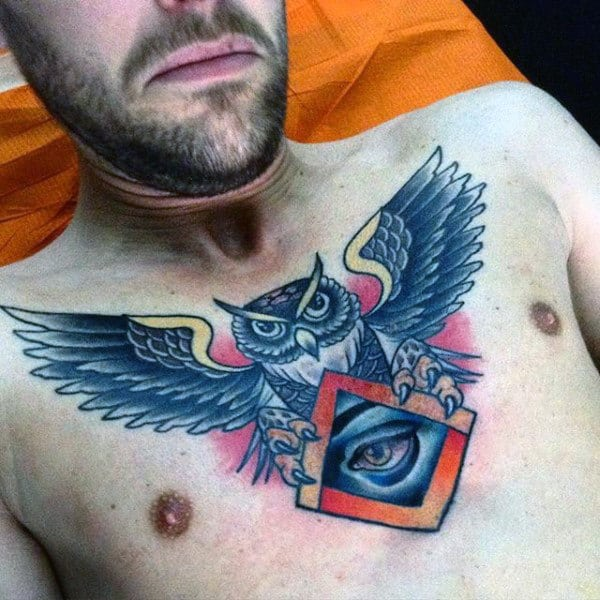 Gentleman With All Seeing Eye Chest Owl Tattoo