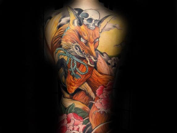 Gentleman With Amazing Kitsune Full Back Fox Themed Tattoo