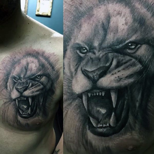 Gentleman With Animal Upper Chest Lion Tattoo Design