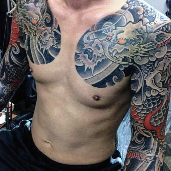 Gentleman With Arm And Chest Dragon Japanese Tattoos