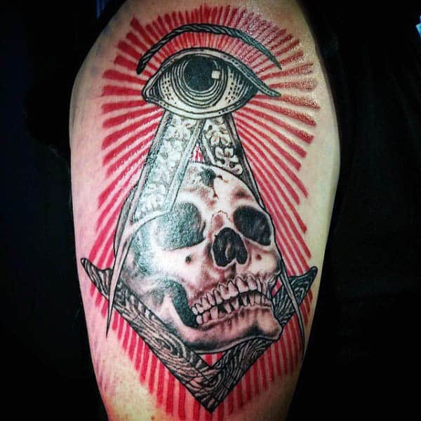 Gentleman With Arm Tattoo Of Masonic All Seeing Eye And Skull