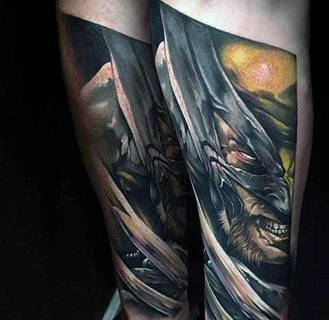 Gentleman With Artistic Wolverine Forearm Tattoo