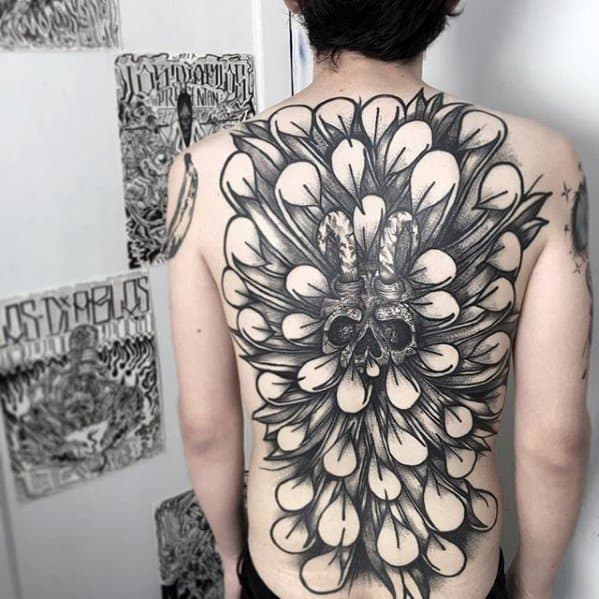 Gentleman With Awesome Feather Skull Back Tattoo