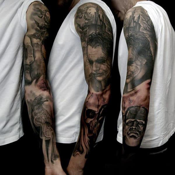 Gentleman With Awesome Frankenstein Themed Full Sleeve Tattoo