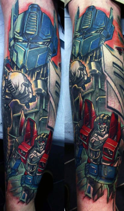 Gentleman With Awesome Leg Sleeve Transformers Tattoos