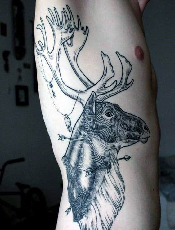Gentleman With Awesome Rib Cage Side Deer Arrows Tattoo