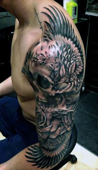 Gentleman With Awesome Skull Tattoos Full Sleeve Design With Wings